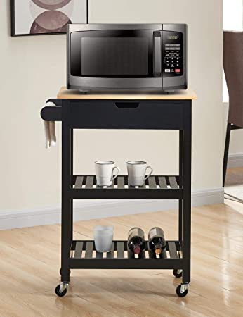 Amazon Com Woodeem Microwave Carts Kitchen Carts With Storage And Drawers Rolling Island For Kitchen Small Kitchen Island On Wheels Black Furniture Decor
