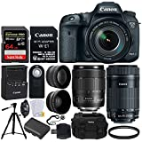 Canon EOS 7D Mark II DSLR Camera + EF-S 18-135mm f/3.5-5.6 IS USM Lens + EF-S 55-250mm f/4-5.6 IS STM Lens + 64GB SDXC Memory Card + Wide Angle & Telephoto Lens + Wireless Remote + Tripod + DC59 Case
