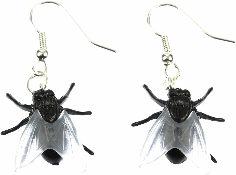pendientes pendientes de Moscas Miniblings horror insecto mosca azul de Halloween