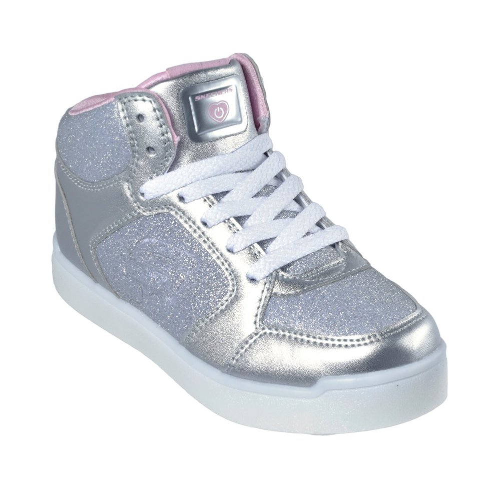Skechers Girl's, Energy Lights E Pro Glitter Glow Sneakers Silver 4 M
