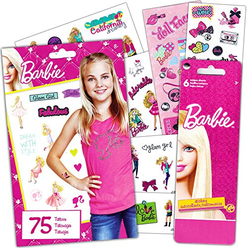 Barbie Stickers and Temporary Tattoos Party Supplies Pack (Tattoos Barbie With)