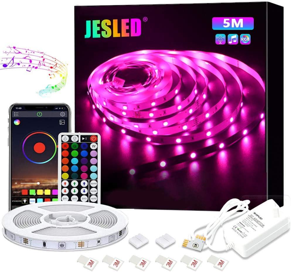 Tiras LED, JESLED 5M Tiras de Luces LED Sincronización de música Bluetooth, control de aplicaciones, Remoto de 44 Botones, 5050 RGB LED Strip, para Habitacion, Hogar, Bar, Fiesta, Restaurante