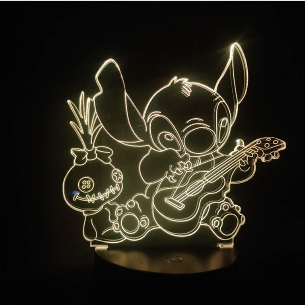 Cartoon Teddy Ricamato Luce notturna LED 3D Illusione Luce decorativa Bambino Bambino Bambino Luce notturna Stich Lampada da tavolo Ago Ricamato Dog Bed Head