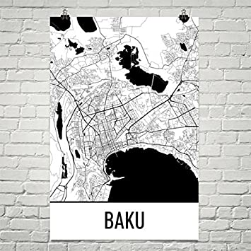 Baku Aserbaidschan Karte.Modern Map Art Baku Karte Baku Kunst Baku Drucken Baku