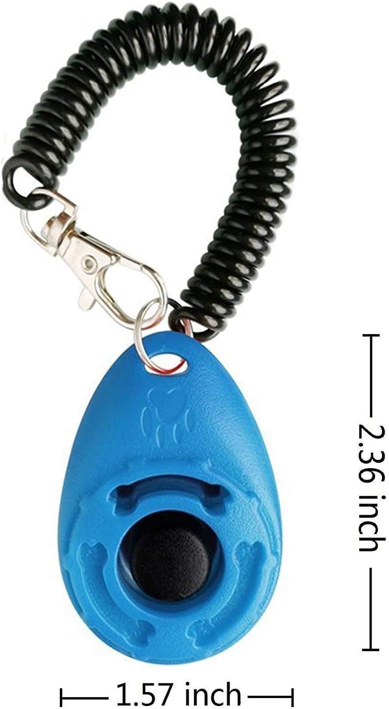 2 Piezas Azul y Blanco OYEFLY Clicker para Adiestramiento Perro Multicolor para la Mu/ñeca para Perro Gato Caballo Training Clicker de adiestramiento para Perros Clicker con Correa