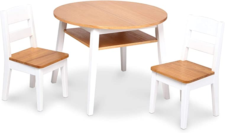 Natural//White Kids Furniture for Playroom Melissa /& Doug Wooden Square Table