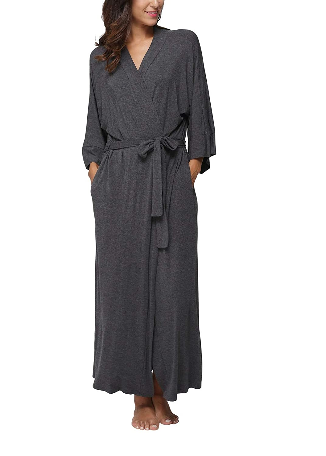 Women's Soft Robes Long Bath Robes Cotton Kimonos Sleepwear Dressing Gown,Solid Color