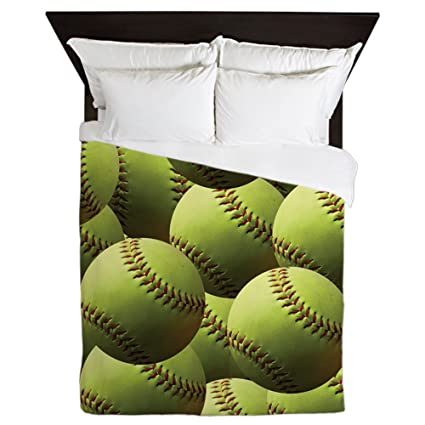 Amazoncom Cafepress Softball Wallpaper Queen Duvet Cover Printed