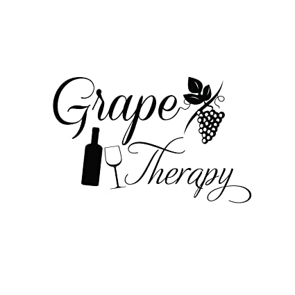 Grape Therapy Funny Wall Decals - Vinyl Wall Art Decal - Funny Wine Quote  Wall Decals - Living Room Wall Decor Stickers - Winery Signs - Bar Decals  ...