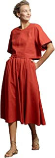 product image for Heidi Merrick Womens Linen Blend Swing Midi Skirt Red 2