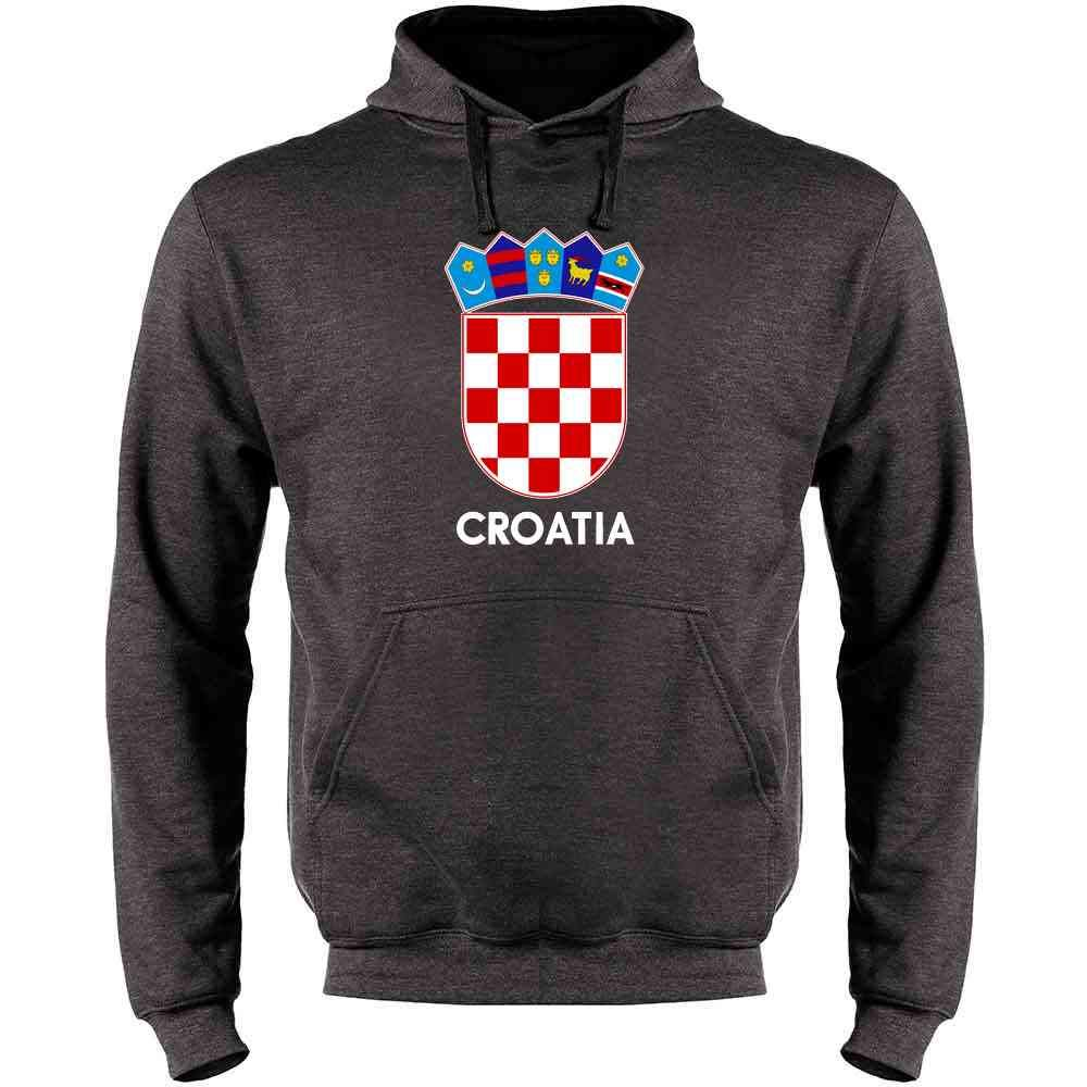 Croatia Soccer National Team Football Crest Retro Mens Fleece Hoodie Sweatshirt