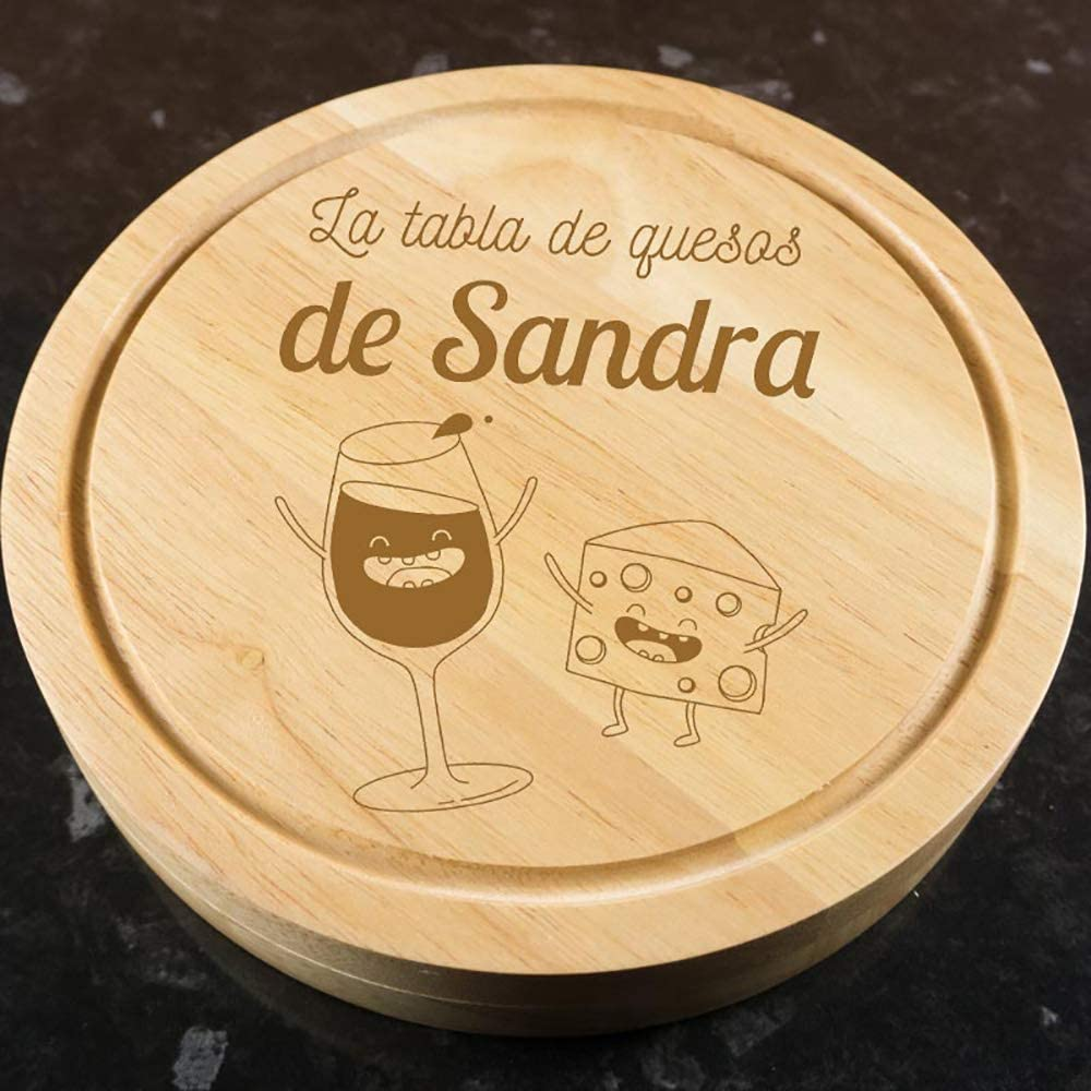 Calledelregalo Regalo Personalizado Tabla de quesos grabada con Motivos Divertidos y el Texto Que t/ú Quieras
