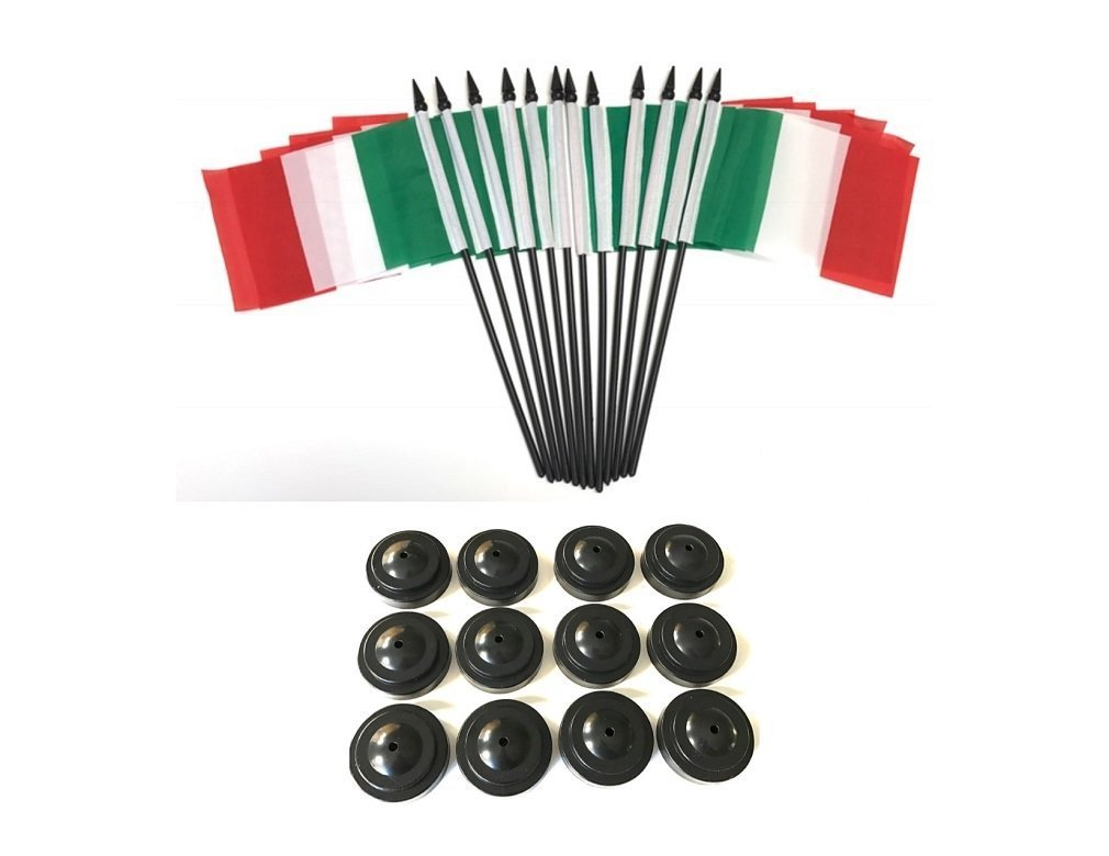 12 Italy 4''x6'' Miniature Desk & Table Flags With 12 Flag Stands, 4x6 Italian Small Mini Stick Flags