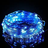 Copper Wire Solar String Lights, 100 LED 33ft 8 Mode Waterproof Starry Décor Rope Lights For Christmas, Wedding, Parties KEEDA® (Blue)