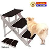 Cirocco Foldable Pet Stair – Folding Pet Step – Wooden Pet Ramp| Portable for Cats Dogs Ideally Small Medium Large Size Animal | Comfort Easy Storage Ladder for Tall High Bed Car Puppy 44 x 70 x 52 cm