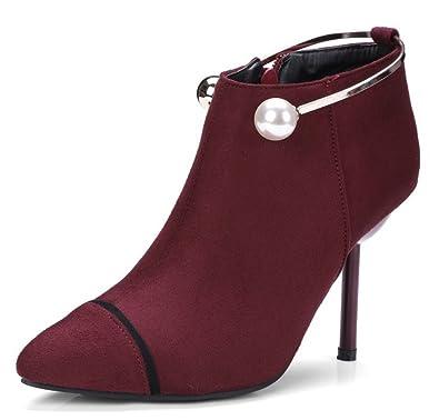 Easemax Damen Modisch Business Künstlich Perlen Ankle Boots Pumps Mit Absatz Schwarz 39 EU 577Ag1T
