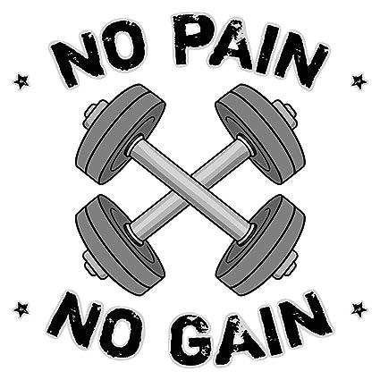 Pegatina de pared Motivo con mancuernas y letras No pain No gain motivo deportivo para pegar