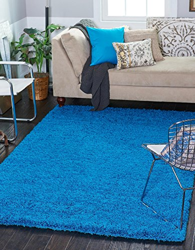 Modern Plush Solid Turquoise Contemporary product image