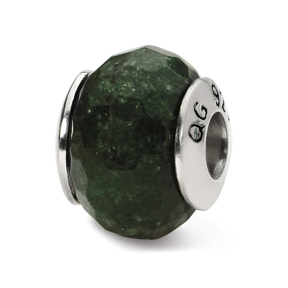 Reflection Beads Sterling Silver Dark Green Simulated Quartz Bead 14 x 11 mm