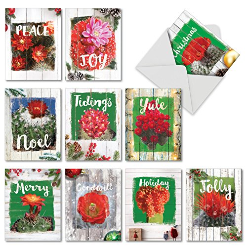 Flowering Christmas Cactus - Assorted Pack of 10 Merry Christmas Cards with Envelopes (4 x 5.12 Inch) - Xmas and New Year Greeting Card Set - Boxed Holiday Joy, Peace, Love AM6437XSG-B1x10