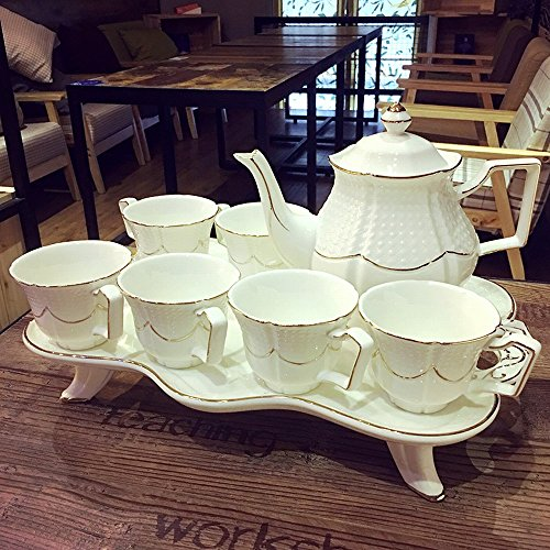 DHG European Bone China Coffee Cup Set British High-End Afternoon Tea Tea Creative Ceramic Cup Simple Home Flower Tea Cup,A by DHG (Image #1)