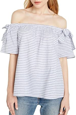 A.S Womens Off The Shoulder Top With Bow Detail Sleeves (Blue Stripes- Small)