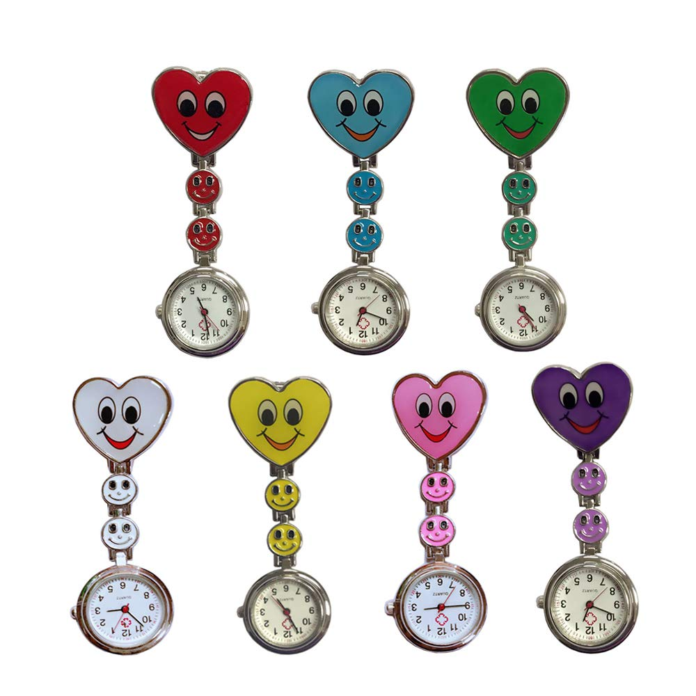 Weicam Heart Smile Face Nurse Hanging Wholesale Watch Clip On Fob Brooch Quartz Pocket Watch(7 Pack) by Weicam