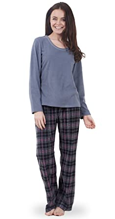 eddaef12b9 Ladies Fleece Pyjama Set Plain Womens PJ S Winter Warm Check Nightwear (Grey  Check) (