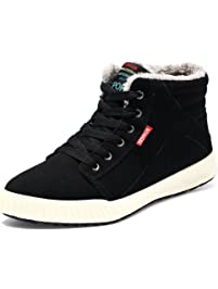 Do BOMRVII Men's Winter Fur Lining Ankle Warm Lace Up Nubuck Leather Snow  Boots Sneaker