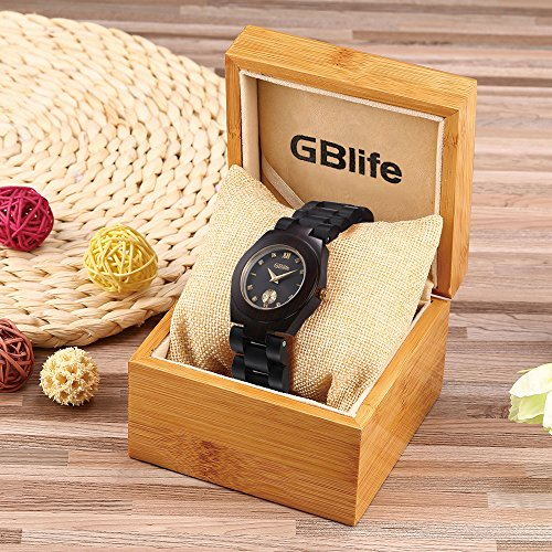Wooden Watch Women, GBlife Natural Wood Watches with Black Dial Golden Pointers, Adjustable Lightweight Wood Band, Casual Retro Wooden Quartz Wristwatch (Ebonywood) by GBlife (Image #6)