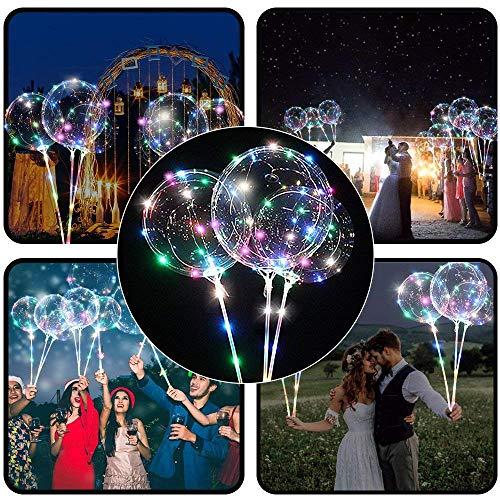 ☀ Dergo ☀ 5pcs Reusable Luminous Led Balloon Transparent Round Bubble Decoration Party Wedding