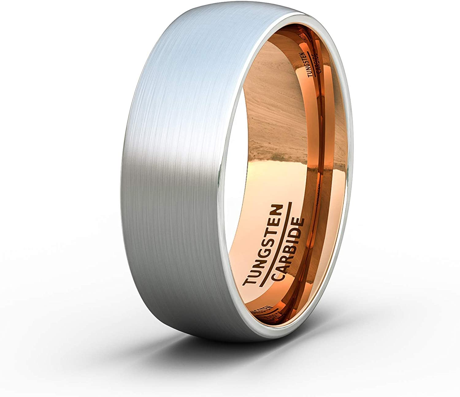 It is an image of Duke Collections Mens Wedding Band 41mm Brushed Tungsten Ring Rose Gold Inside Dome Comfort Fit
