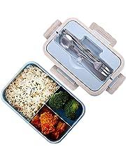 Boîtes Bento, Bento Box Lunch Box, blé naturel 1000 ml de sécurité LeakProof Boîte de conservation avec baguettes, cuillère pour enfants adultes, au micro-ondes, passe au lave-vaisselle, bleu