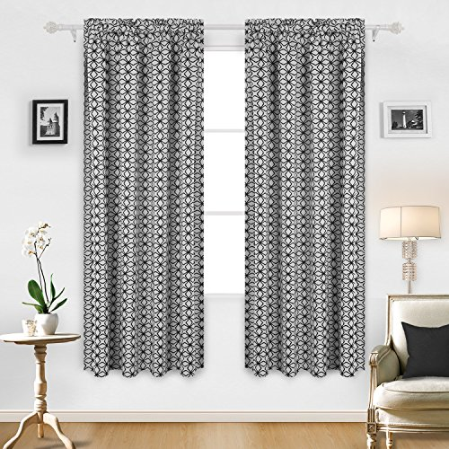 Deconovo Diamond Petals Print Rod Pocket Window Curtain Panel Room Darkening DrapesThermal Insulated Curtains 52 Inch by 84 Inch Black and White Two Curtain - Opulence Window