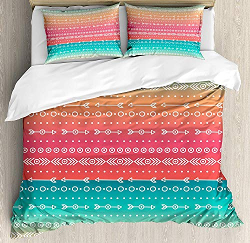 SINOVAL Arrow Decor Duvet Cover Set,Colorful Ethnic Tribal Motifs with Geometric Shapes Triangles Old Aztec Maya Folkloric Art Home,3 Piece Fashion Bedding Set with Pillow Shams