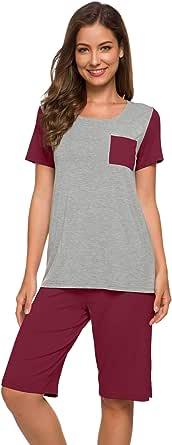 WiWi Short Sleeve Sleepwear Comfy Loungewear Pajamas Set for Women S-4XL