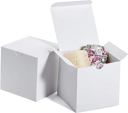 HOUSE DAY Cajas de regalo 10x10x10cm Cajas de regalo de papel Kraft con tapas para regalos Crafting Cupcake Cajas de cartón (50) (Blanco): Amazon.es: Oficina y papelería