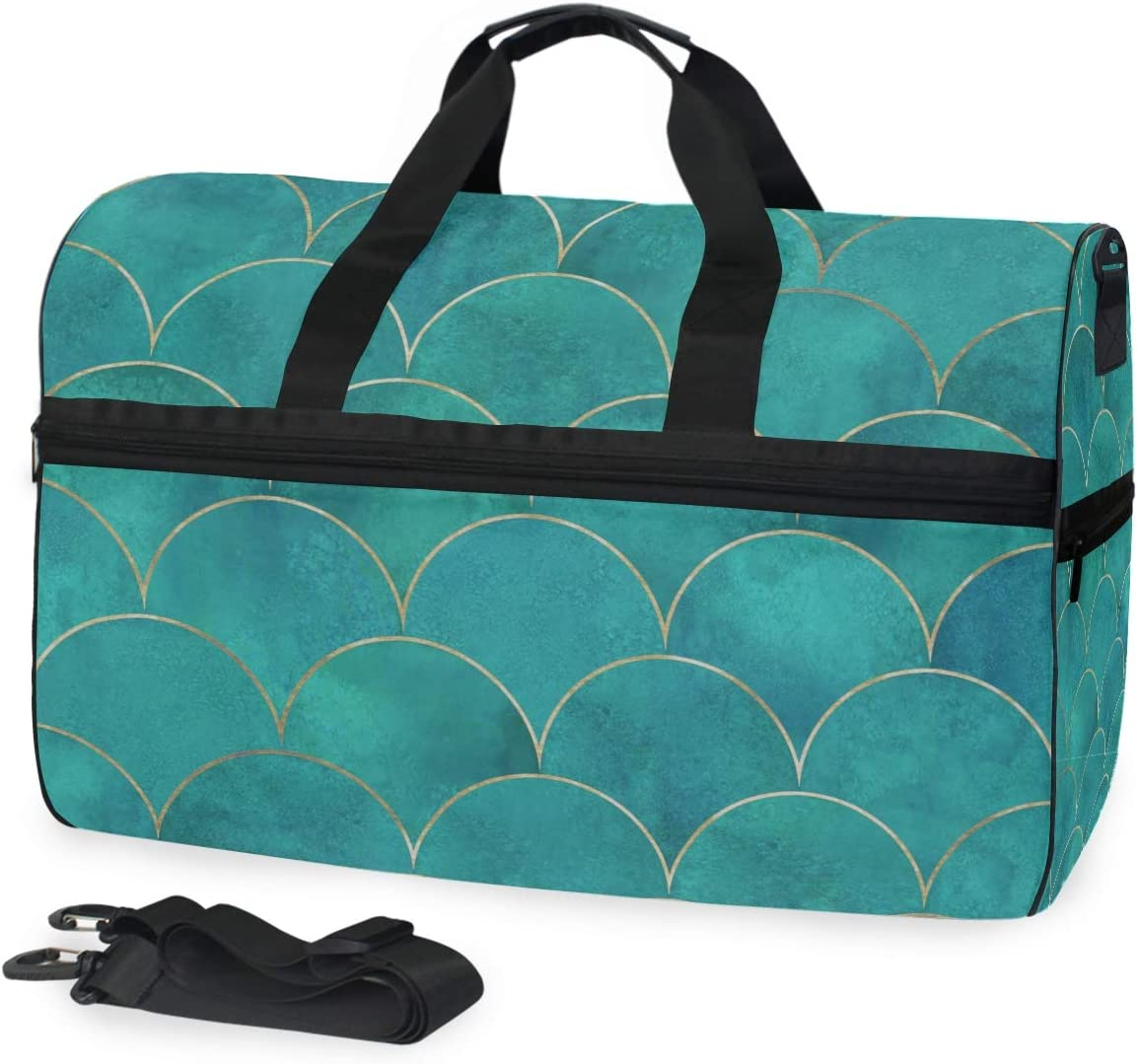 ALAZA Japanese Teal Mermaid Fish Scale Sports Gym Duffel Bag Travel Luggage Handbag Shoulder Bag with Shoes Compartment for Men Women