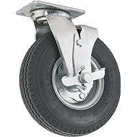 Rueda giratoria de poliuretano con placa superior – 12.7 cm – 140.61 kg Capacidad de carga – Rueda de aire proporciona amortiguación y absorción de golpes, mejor para uso en exteriores, Giratorio con freno, 20,32cm, Cromado