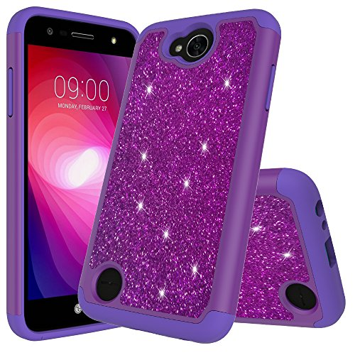 - For LG X Power 2/LG X Charge/Fiesta LTE/K10 Power/LV7 Cute Glitter Bling Sparkle Dual Layer Protective Shockproof Hybrid Phone Case for LG X Power 2 With HD Screen Protector (Purple)