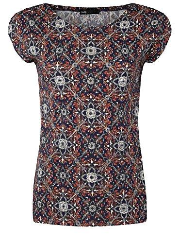 oodji Collection Mujer Camiseta con Estampado Azul (7931E)