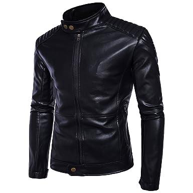 c00addfe021c8 Blansdi Homme Veste en Cuir 2018 The New Blousons Zipper Manteau Court  Manches Longues Veste de