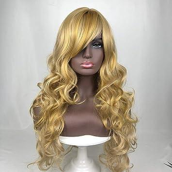 DER Moda Lady Wig Largo Cabello Rizado Oro Química Fibra Wig Head ...