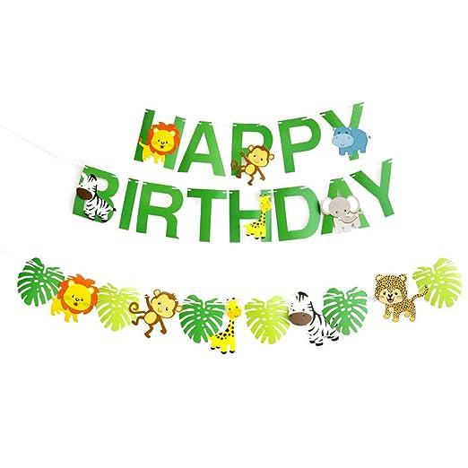 STOBOK Feliz fiesta de cumpleaños Banner verde bosque animales guirnalda para niños cumpleaños decoración