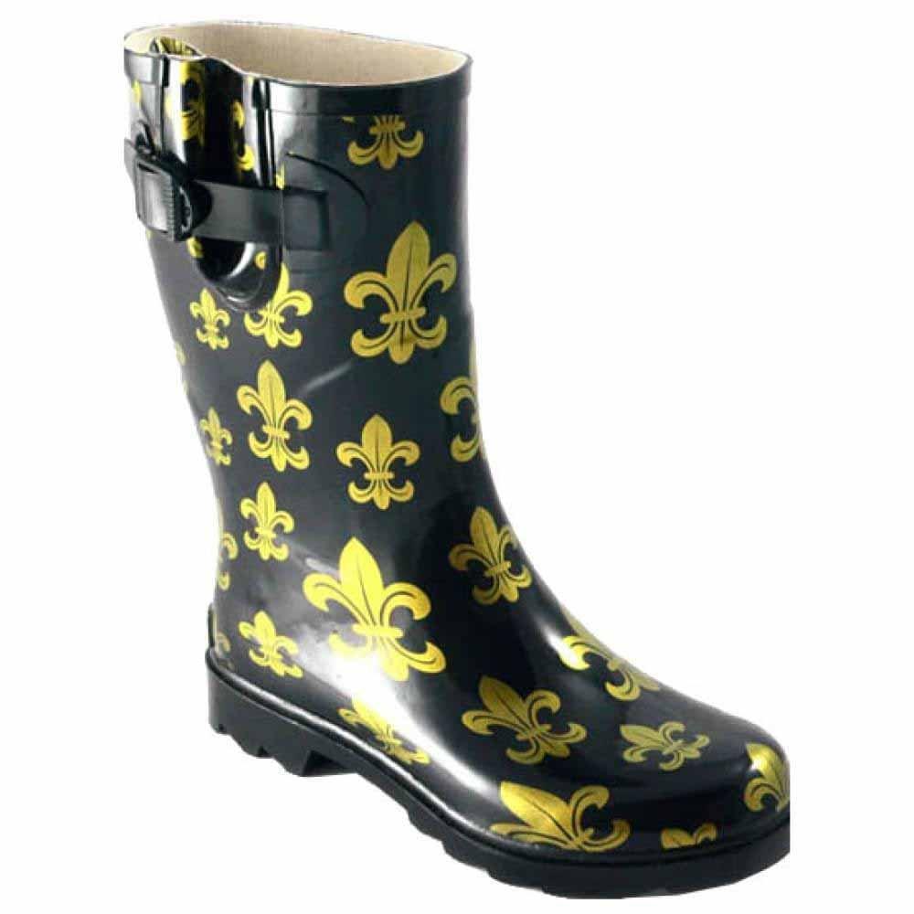 Women's Corkys, Sunshine rubber Rain Boots BLACK / GOLD 9 M