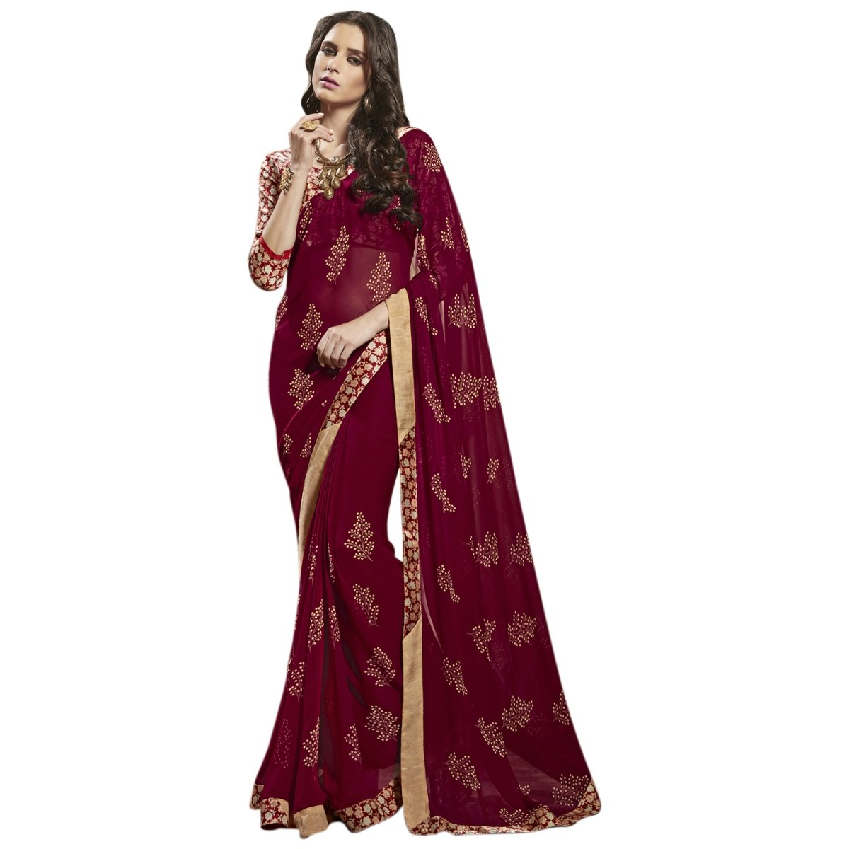 Aagaman Fashions Indian Women's Red Colored Printed Faux Georgette Casual Tragen Saree YTSNSY31025