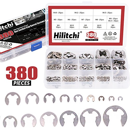 Hilitchi 380-Pcs [14-Size] E-Clip Circlip External Retaining Ring Assortment Set - 304 Stainless Steel by Hilitchi