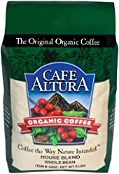 Cafe Altura Whole Bean Organic Coffee, House Blend, 5 Pound