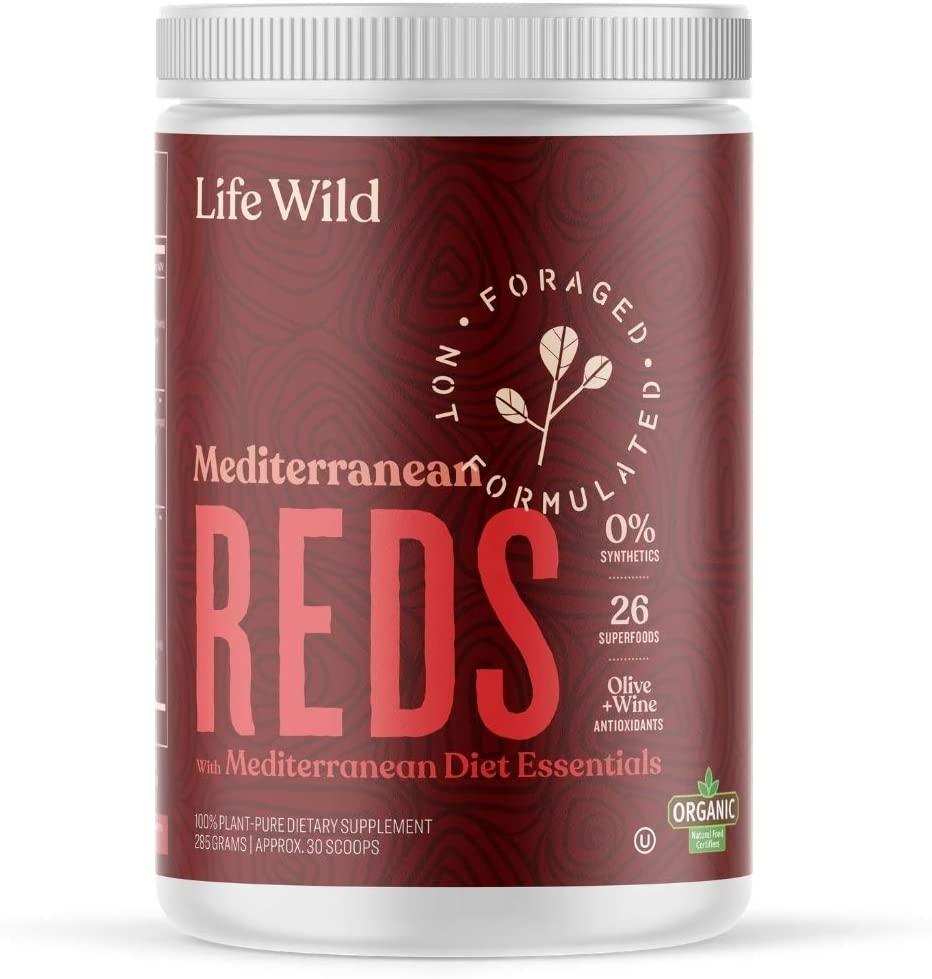 Life Wild Mediterranean Reds Organic Superfood Powder | Juice Blend of Beets, Fruits, Berries & Vital Polyphenols | Dietary Supplement Drink for Circulation, Joints, Heart & Brain | 30 Day Supply