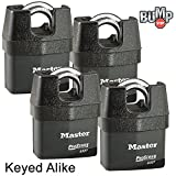 Master Lock Pro Series Padlock - (4) High Security Locks 6327NKA-4 w/ BumpStop Technology
